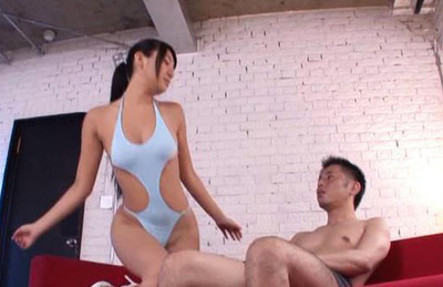 Nana ogura. Nana lascivious in a swim gear teases the libidinous dude then kiss him