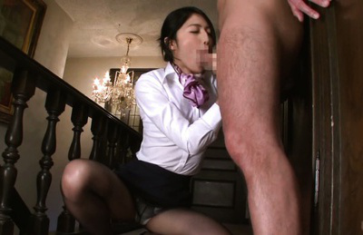 Reo saionji. Babe Reo Saionji blowjob massive cock and get cumshot on face