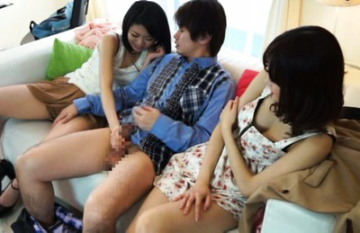 Japanese av model. Charming AV Models meet a guy that gets naked shows off his cock