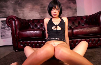 Uta kohaku. Beautiful Uta Kohaku caresses penish with lustful feet making it harder