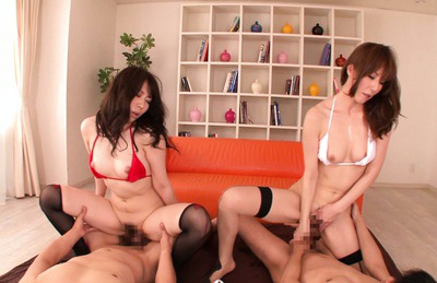 Asuka. Asuka and her friend got dicks for a ride in the foursome
