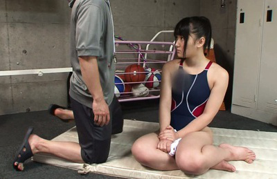 Nana usami. Young Nana Usami meets coach after training in the