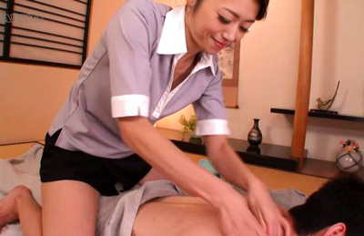 Japanese av model. Gentle AV Model massages male body excitingly and touches a dick
