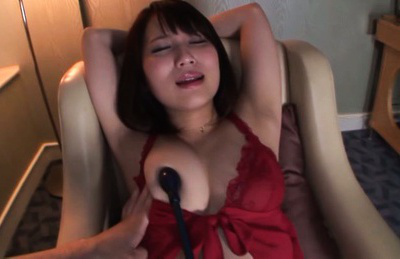 Japanese av model. AV Model uses a toy to enjoy and to relax on