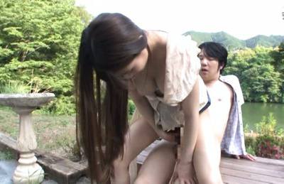 Ai nikaidou. Ai Nikaidou Asian with long hair rides boner a lot in nature