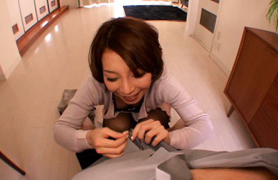 Tamaki nakaoka. Tamaki Nakaoka Asian shows anus in skirt while licking man body