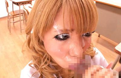 Asuka hoshi. Beautiful Asuka Hoshi gulp cock and gets facial in