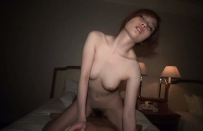 Japanese av model. Teen AV Model with hairy cunt rides cock and