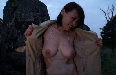Reiko nakamori. Reiko Nakamori shows huge nude cans and fucks dildo outdoor