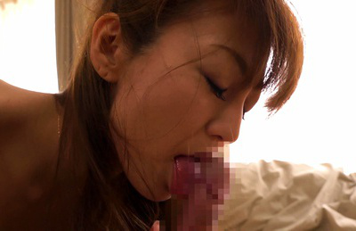 Ryo hitomi. Ryo Hitomi Asian shows libidinous cleavage while licks and rubs penis