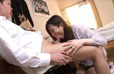Nana aoyama. Nana Aoyama gets ready to sucks penish like a